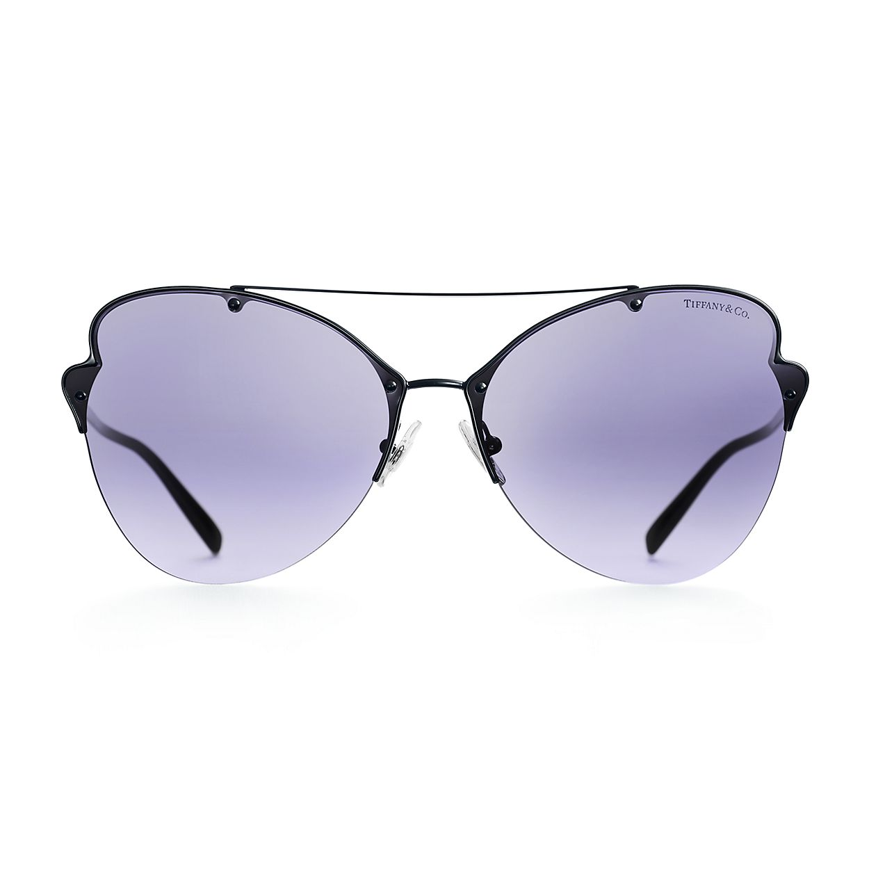 9e2d9b8321ca Tiffany Paper Flowers butterfly sunglasses in black metal.