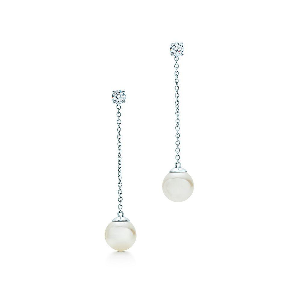 ff5ee1fbf4afac Tiffany Signature® Pearls drop earrings in white gold with pearls and  diamonds. | Tiffany & Co.