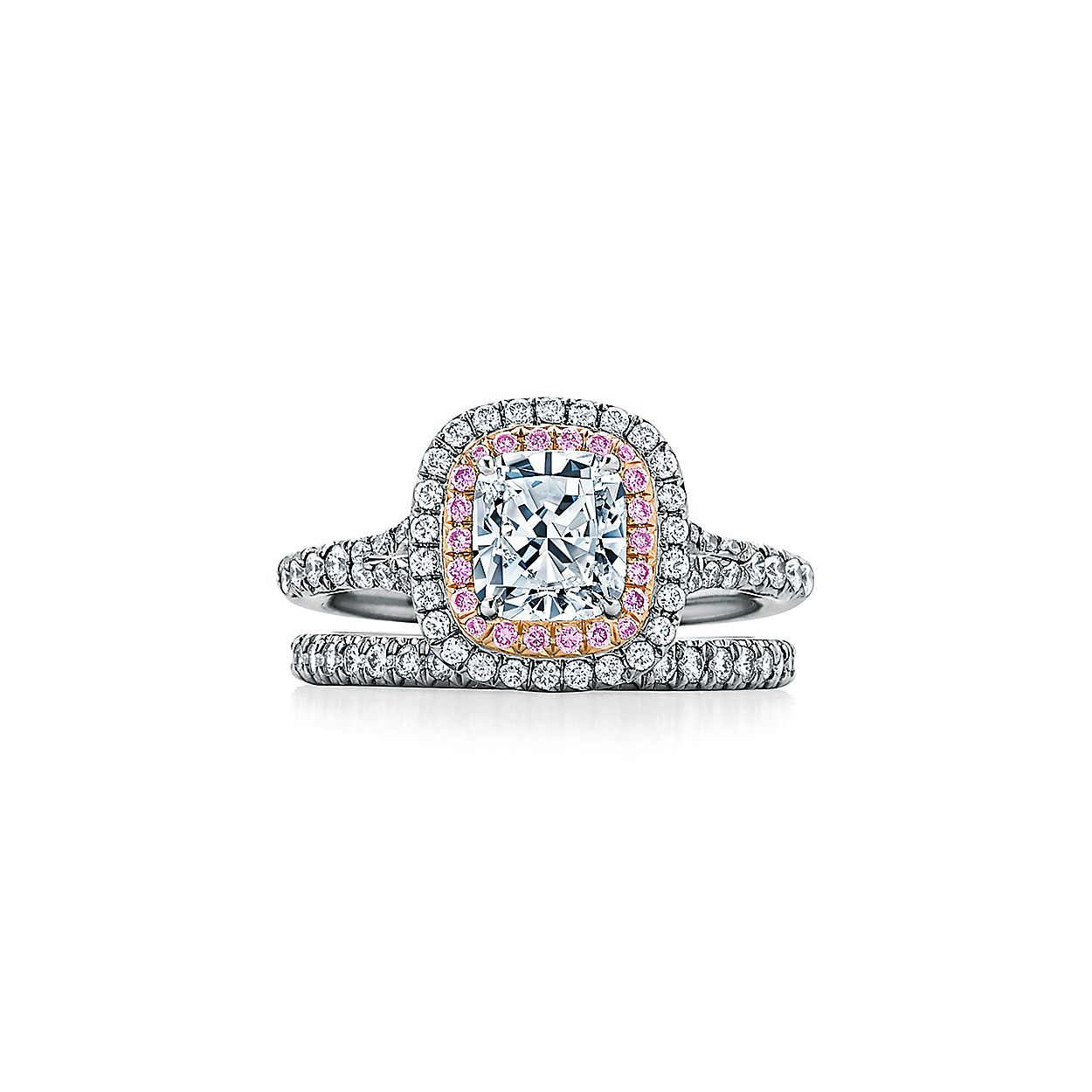 6b28896ff Tiffany Soleste® Cushion-cut Double Halo Engagement Ring with Pink Diamonds  in Platinum