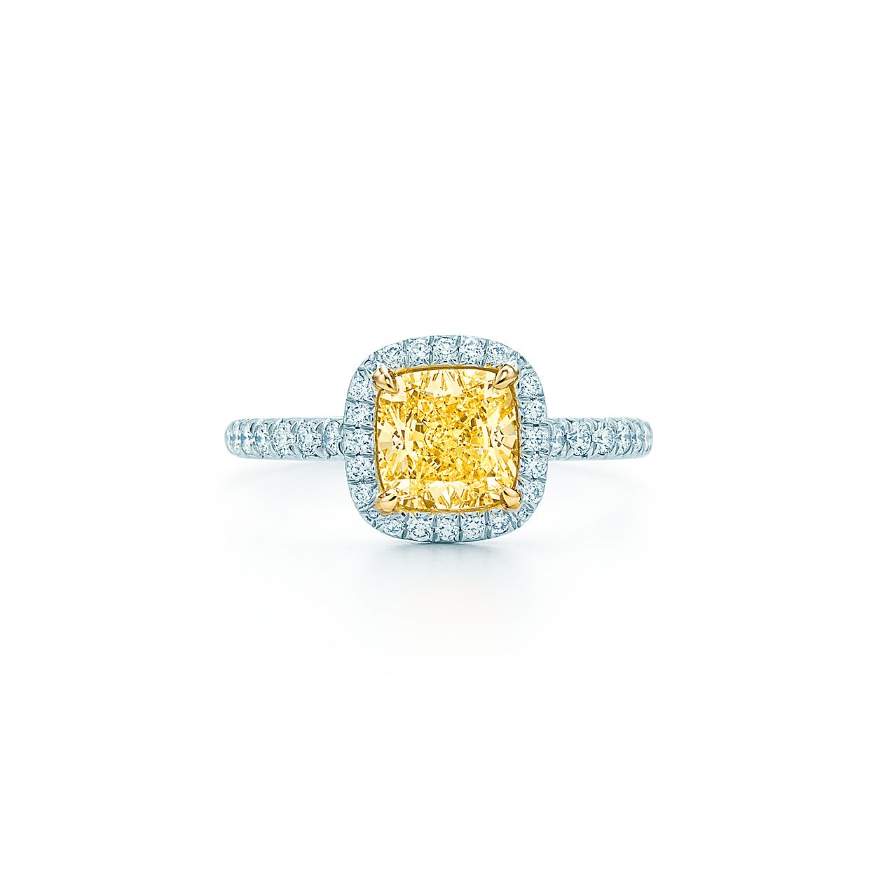 Tiffany Soleste Cushion Cut Halo Engagement Ring With A Diamond Platinum Band