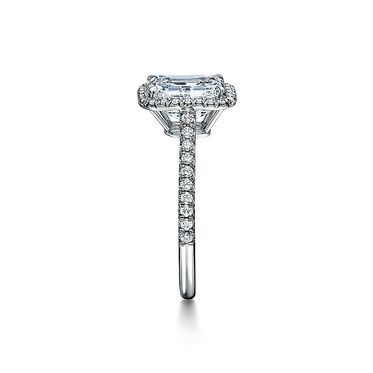 a7bd674e72f72 Tiffany Soleste® Emerald-cut Halo Engagement Ring with a Diamond Platinum  Band