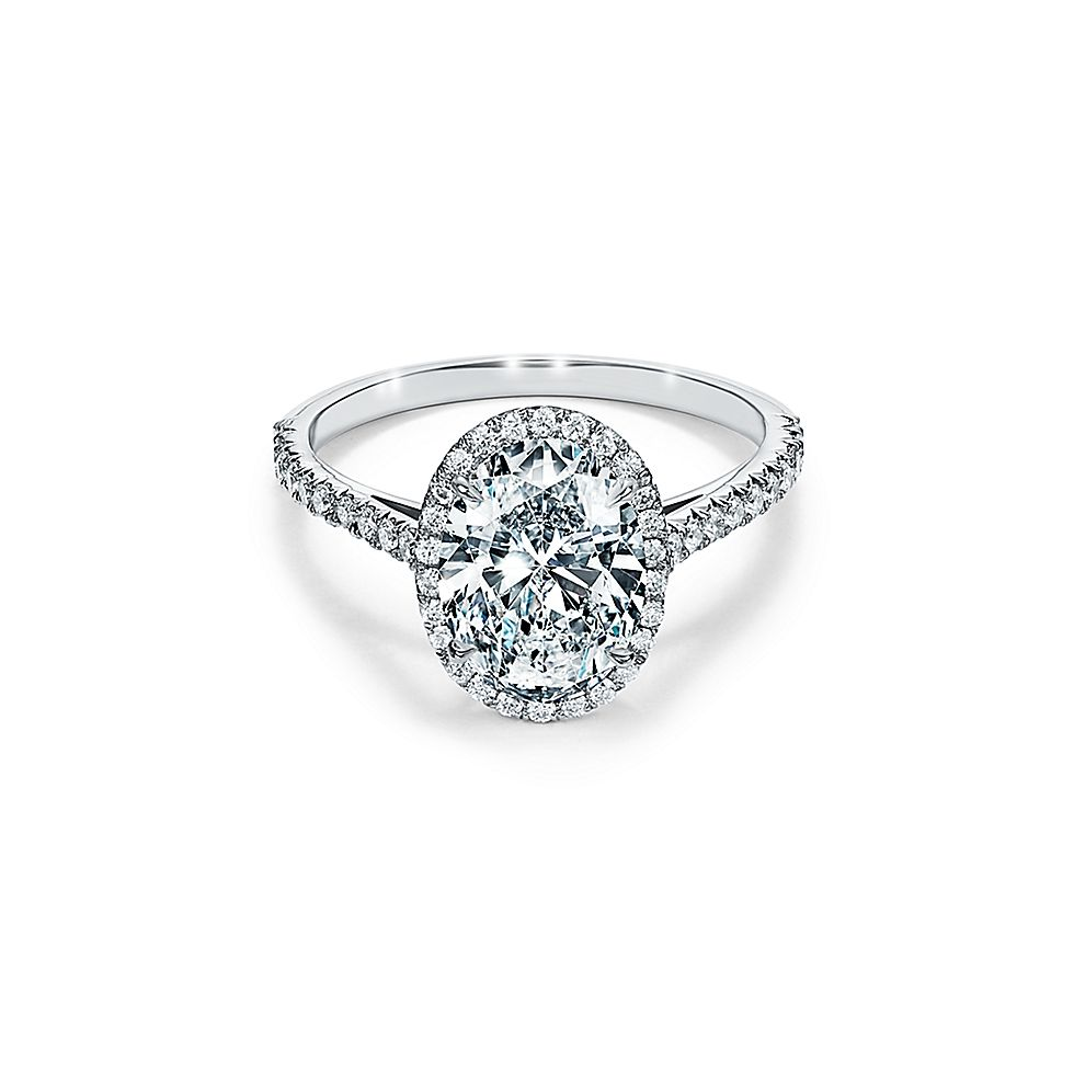 Tiffany Wedding Rings.Tiffany Soleste Oval Halo Engagement Ring With A Diamond Platinum Band