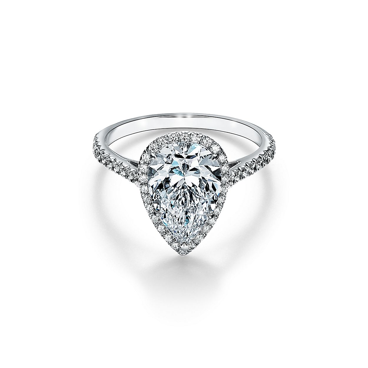 Tiffany Soleste Pear Shaped Halo Engagement Ring With A Diamond Platinum Band