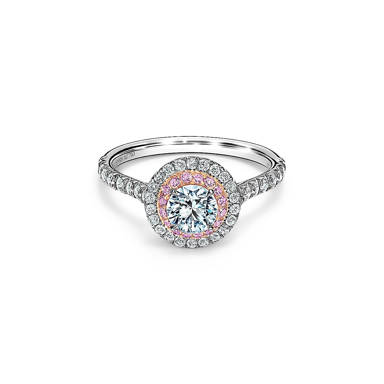 61cd166e5 Tiffany Soleste® Round Brilliant Double Halo Engagement Ring with Pink  Diamonds in Platinum