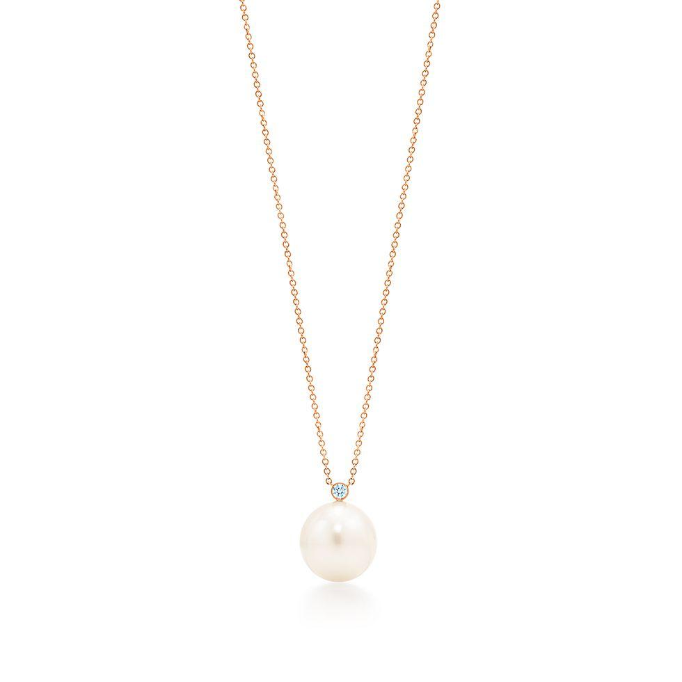 810a3597c8cb Colgante en oro rosa con perla cultivada del Mar del Sur y diamante ...