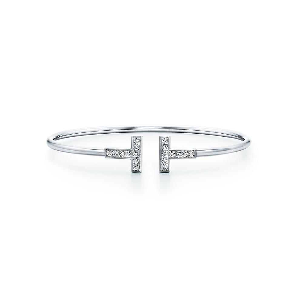 Bracciale Tiffany T Wire in oro bianco 18k con diamanti, medio.