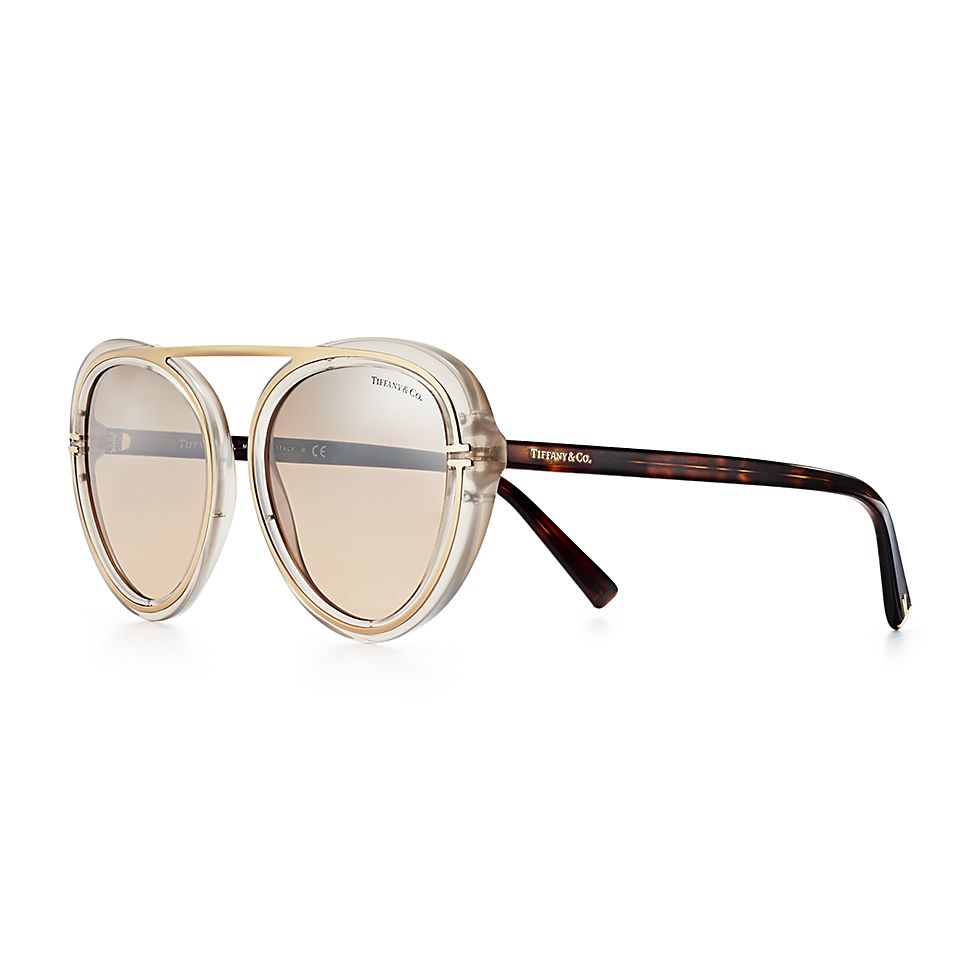d8c81c6aaaae Tiffany T round sunglasses in silver-colored metal.