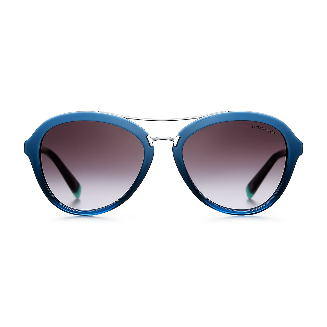 ea8953723f5b Tiffany T aviator sunglasses in blue acetate.