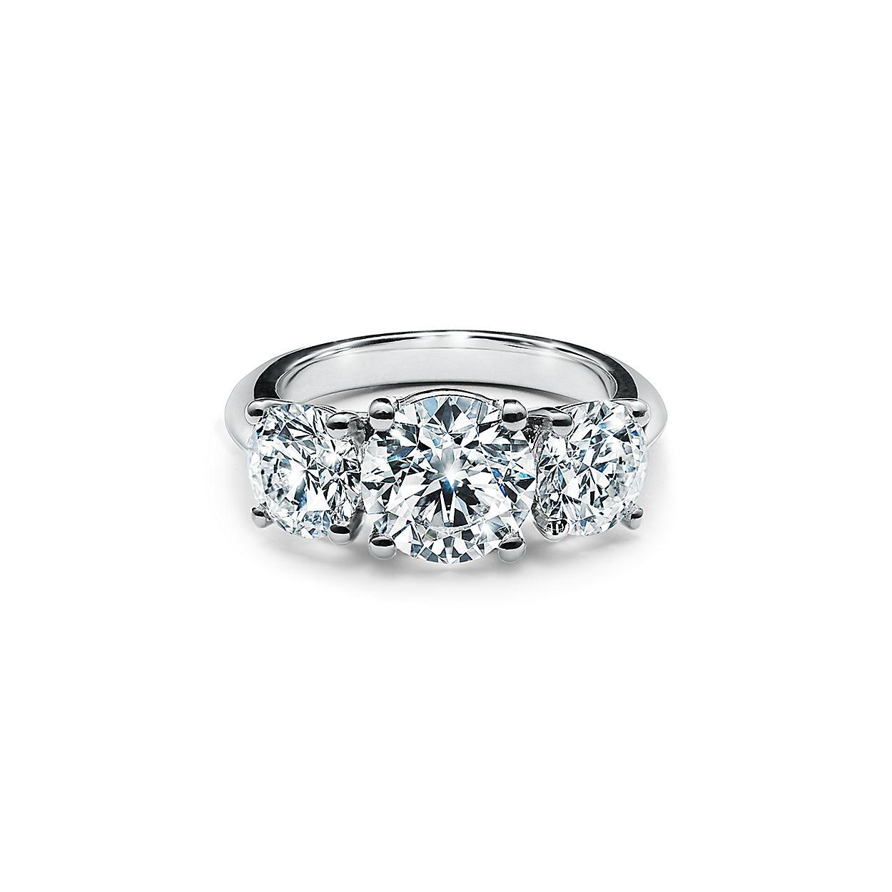 7f4210323b8e5 Tiffany Three Stone Engagement Ring in Platinum