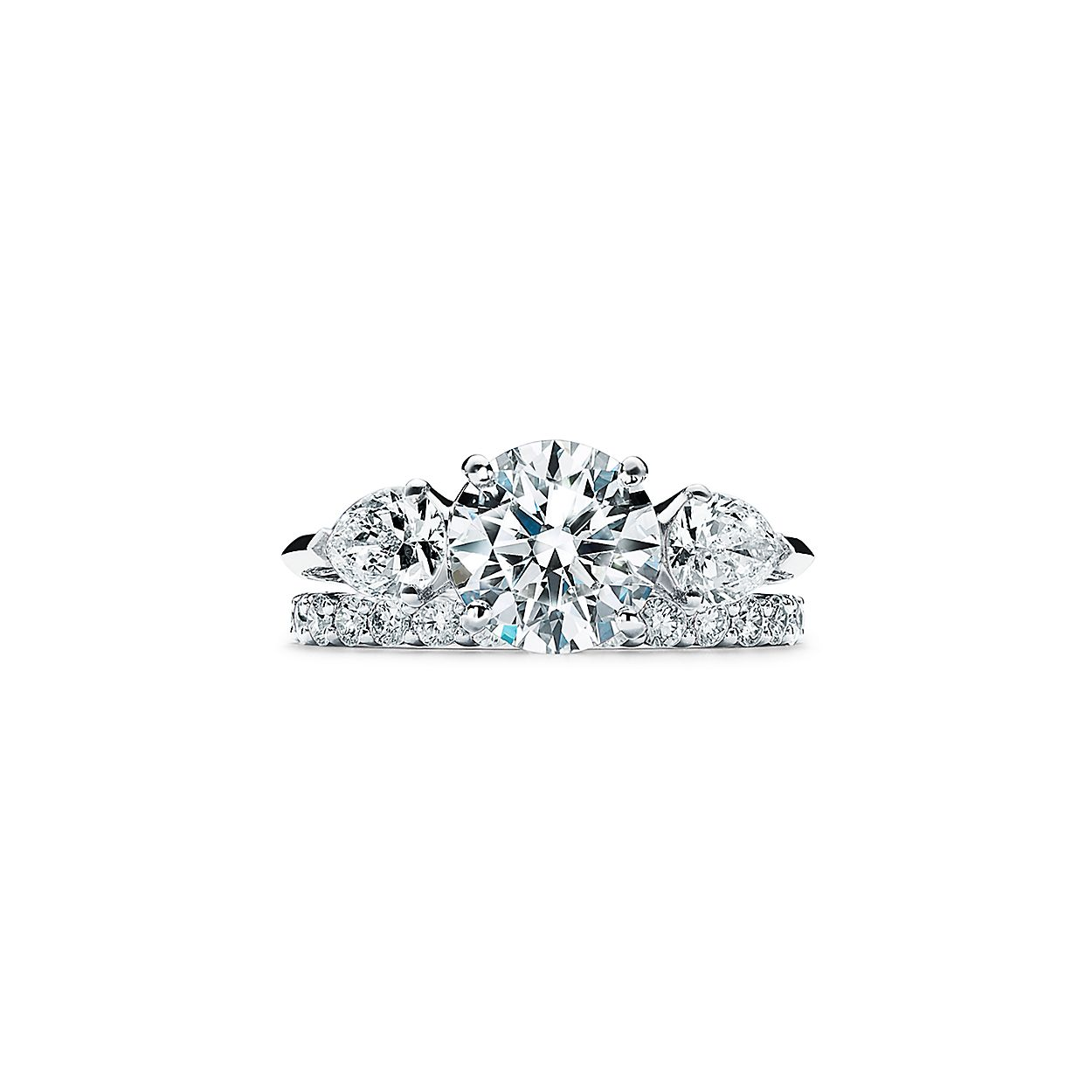 0bfa2ca67 Tiffany Three Stone Engagement Ring with Pear-shaped Side Stones in Platinum
