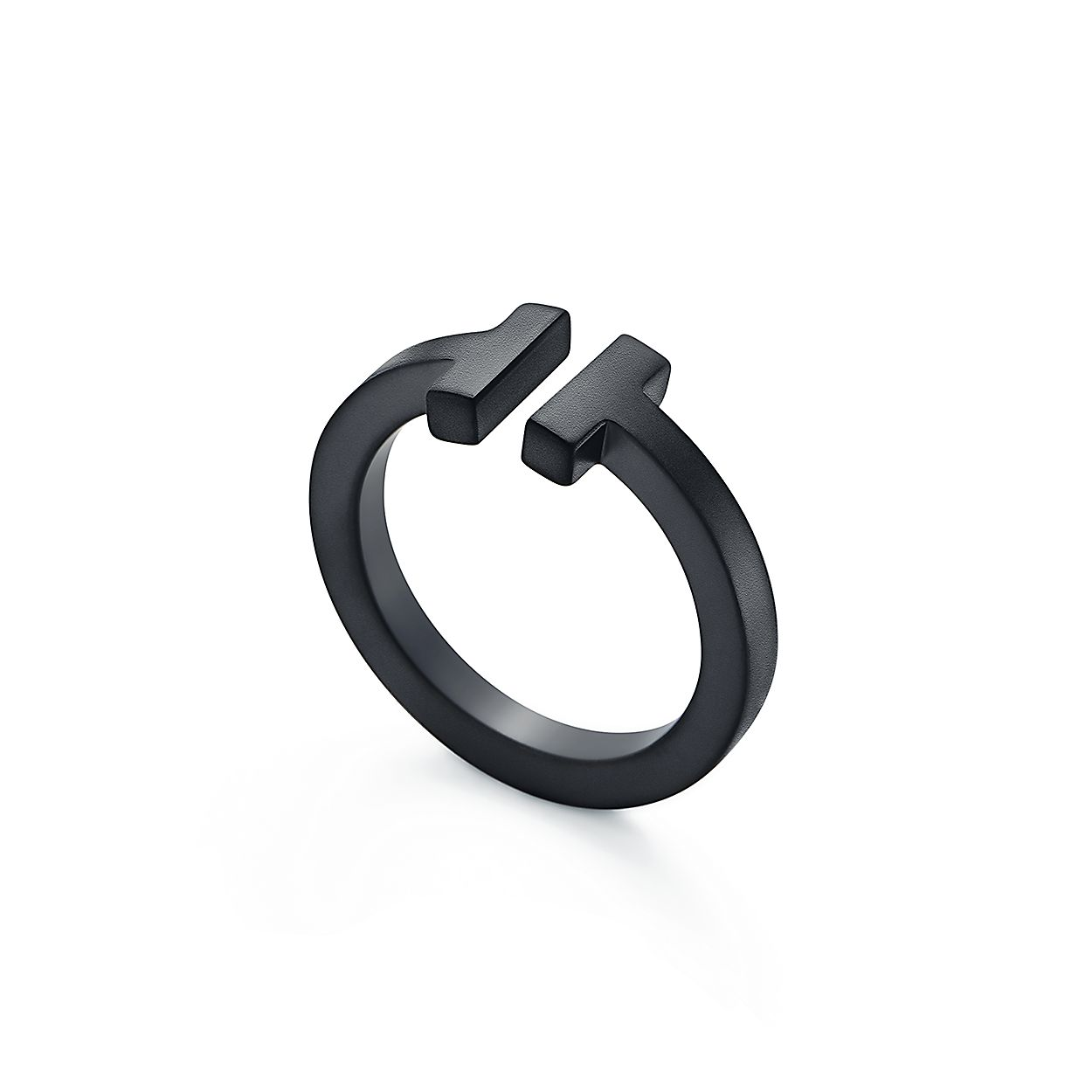 b7ea6c8205 Tiffany T square ring in black-coated steel. | Tiffany & Co.