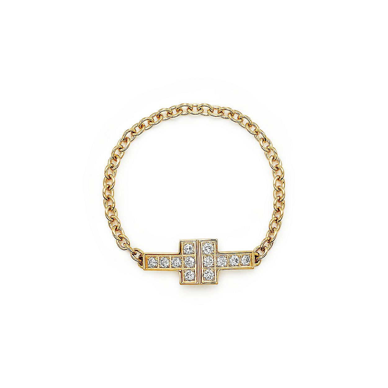 a66b5ed6b Tiffany T Two chain ring in 18k gold with diamonds. | Tiffany & Co.