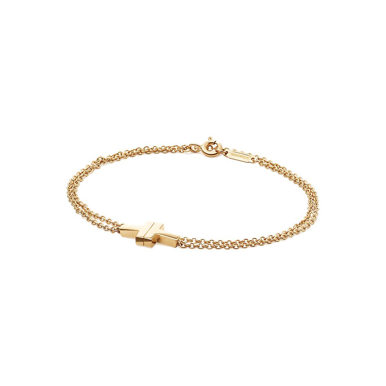 18b30a607 Tiffany T Two double chain bracelet in 18k gold, medium. | Tiffany & Co.