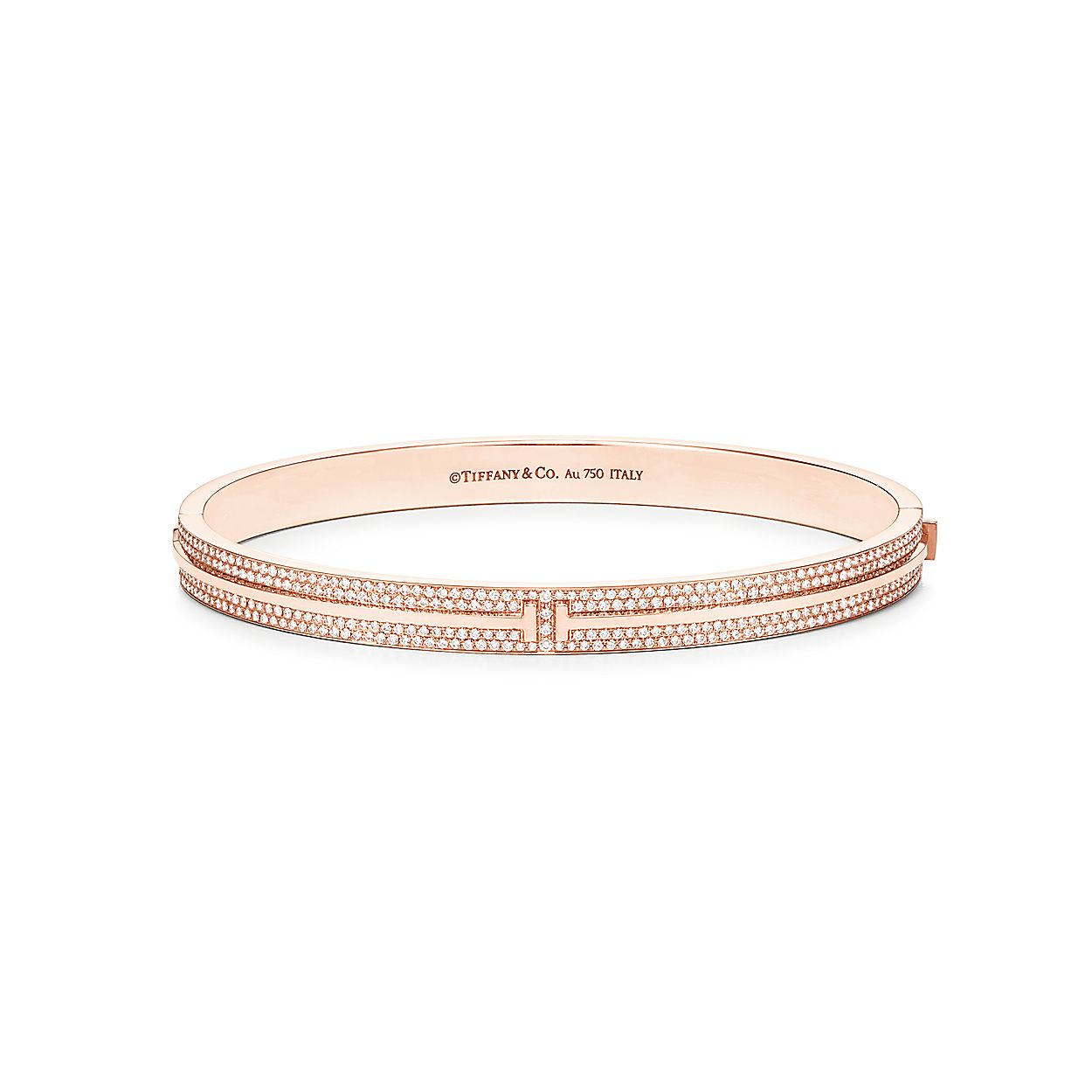 0fb1854e5 Tiffany T Two hinged bangle in 18k rose gold with pavé diamonds ...
