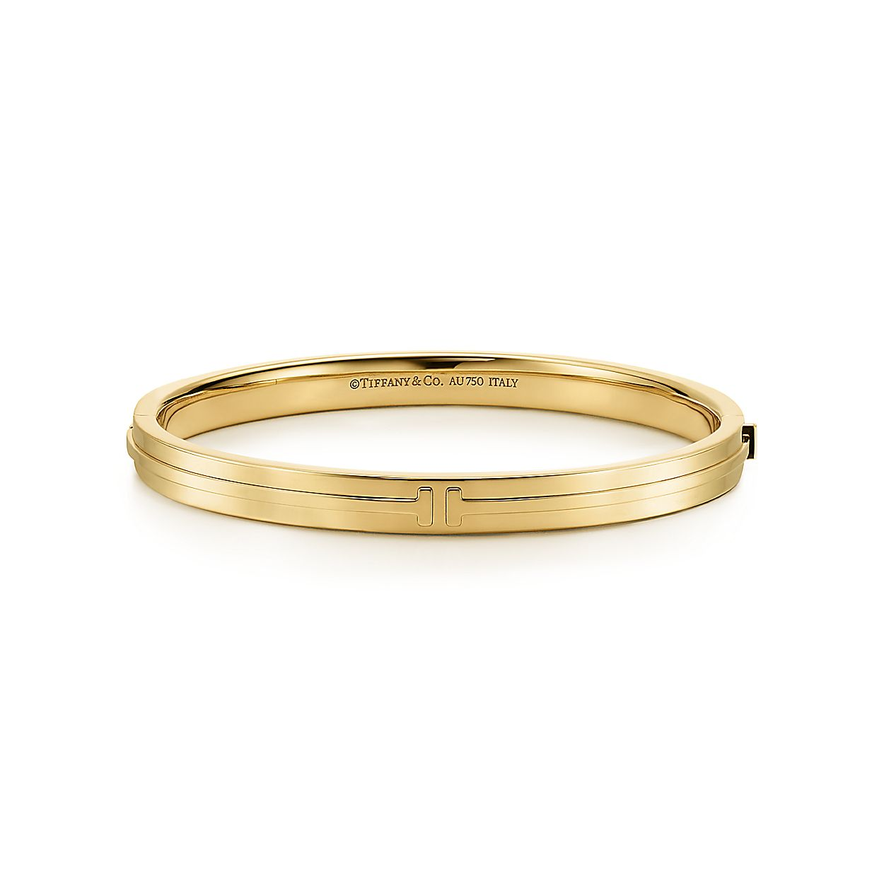 dfc015a5c Tiffany T Two hinged bangle in 18k gold, medium. | Tiffany & Co.