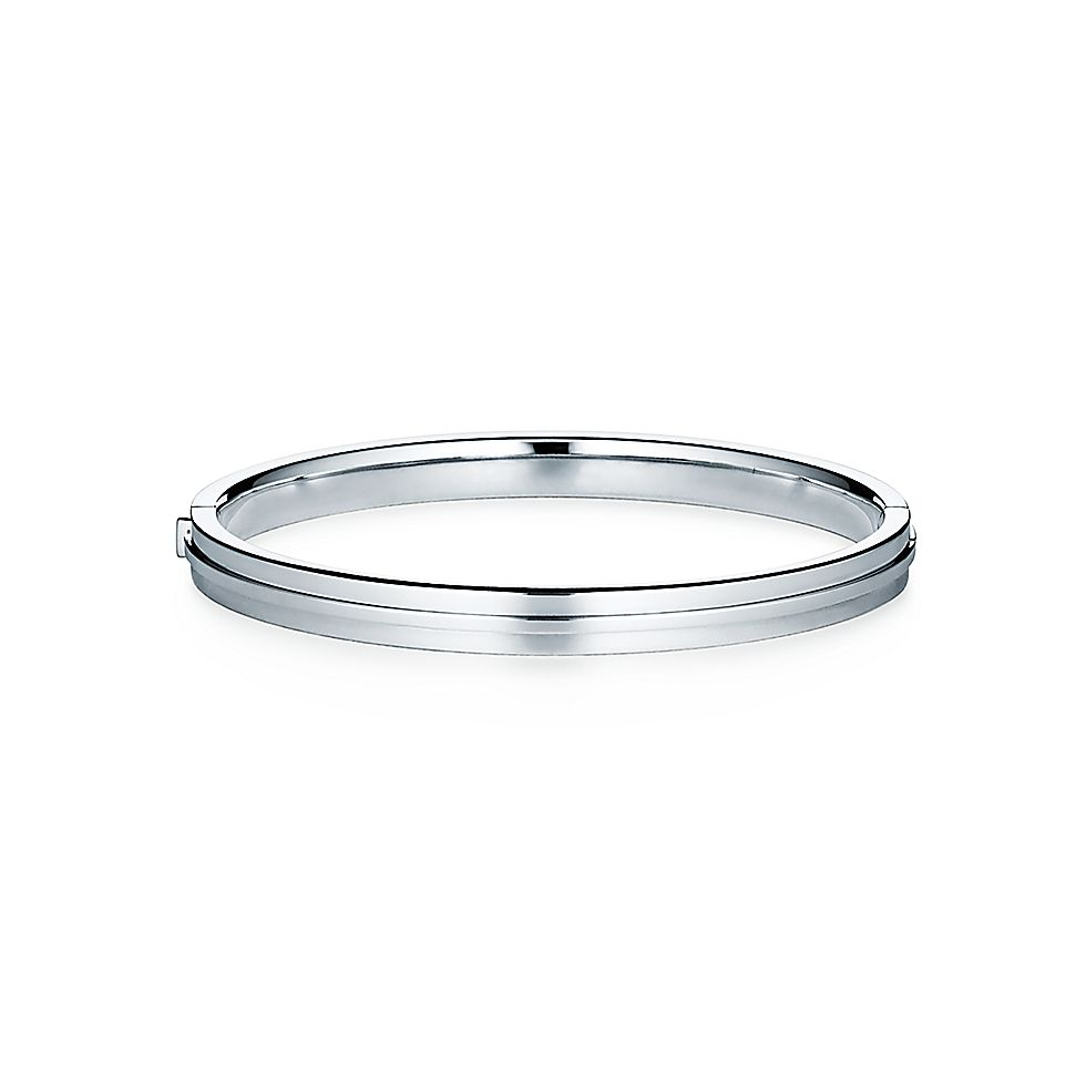 c24e7d4a5 Tiffany T Two hinged bangle in 18k white gold with diamonds, medium. |  Tiffany & Co.