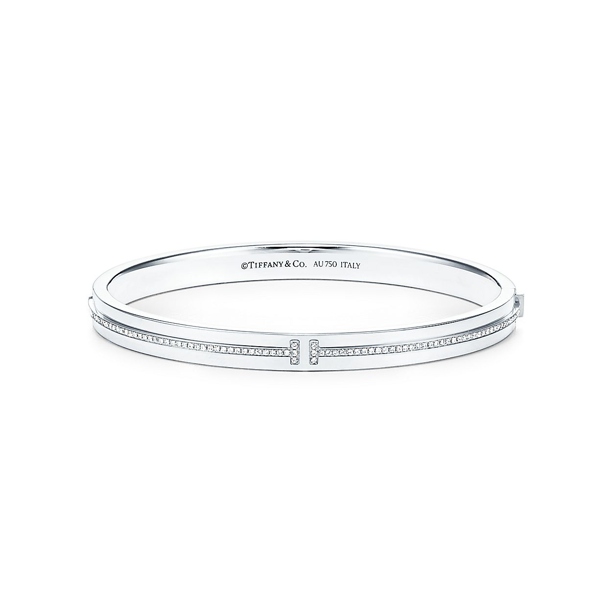 6cf017c3e Tiffany T Two hinged bangle in 18k white gold with diamonds, medium ...