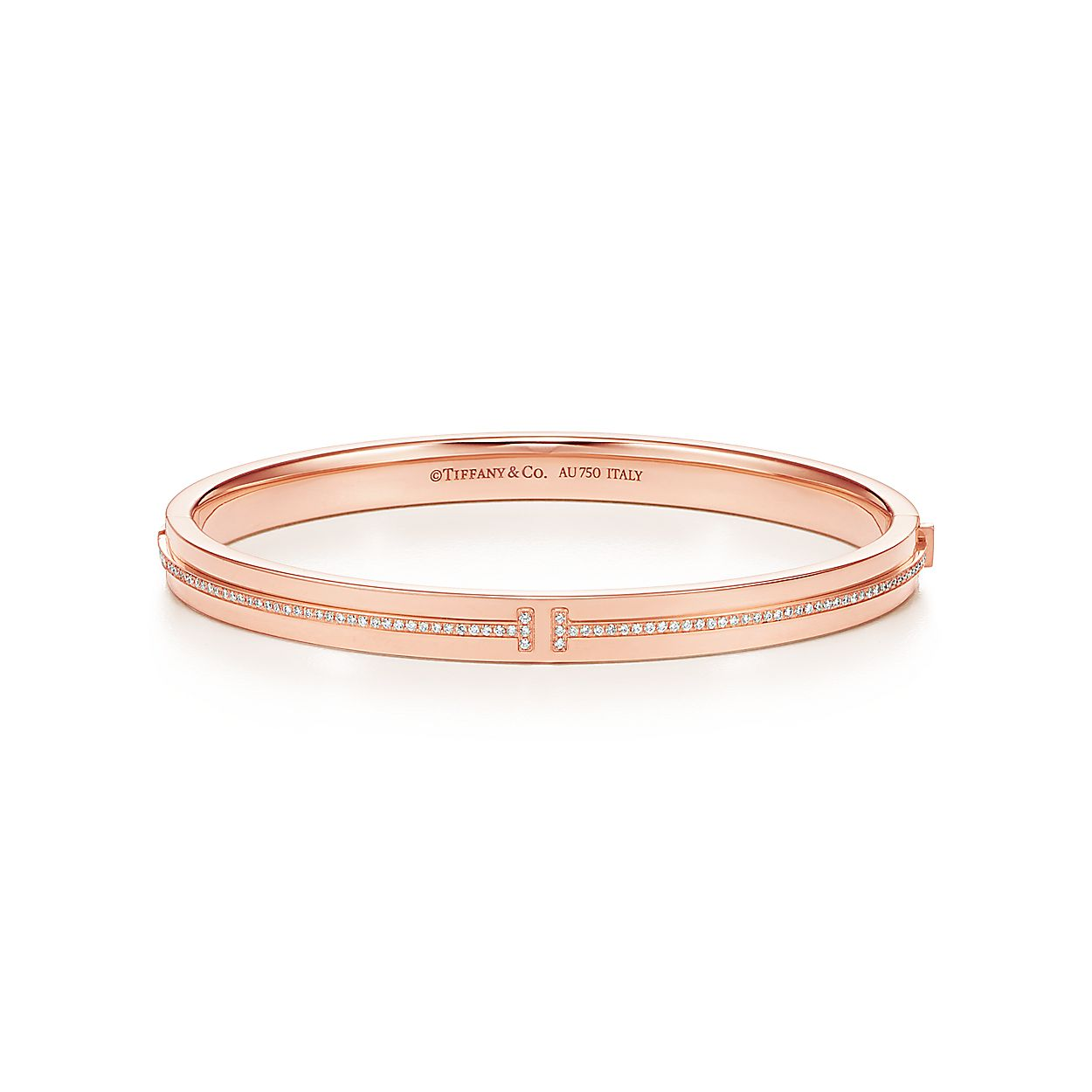 ba94de2ae Tiffany T Two hinged bangle in 18k rose gold with diamonds, medium ...