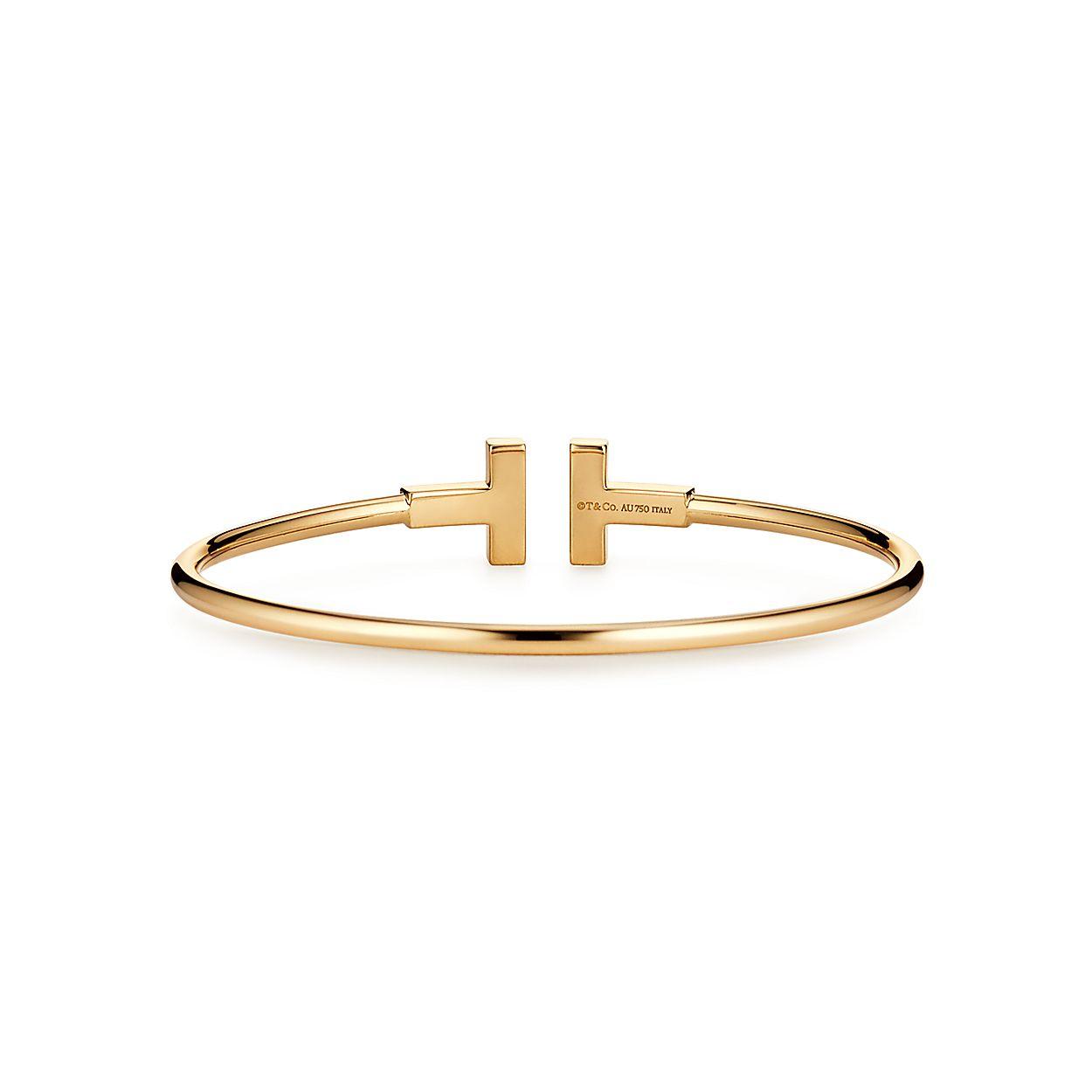 f3bce5879 Tiffany T wire bracelet in 18k gold with diamonds, medium. | Tiffany ...