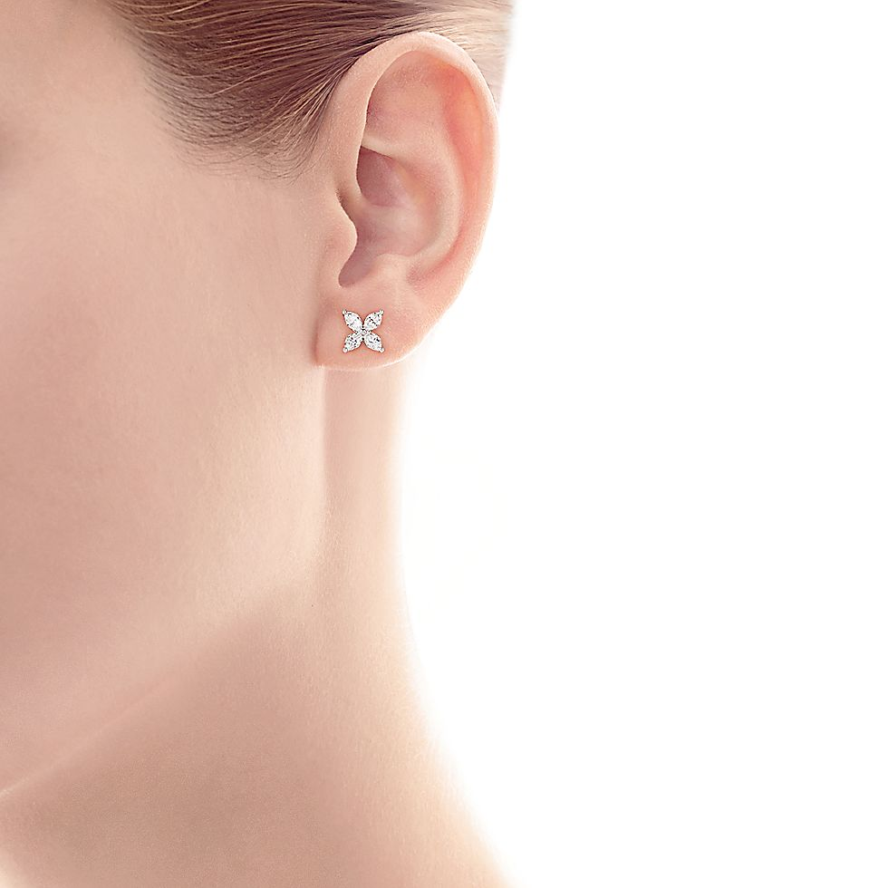 0af543fd8 Tiffany Victoria® earrings in platinum with diamonds, small. | Tiffany & Co.