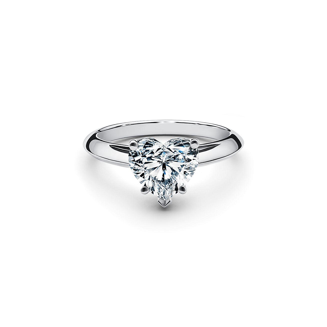 prezzo più economico davvero comodo codici promozionali Anello di fidanzamento in platino con diamante a cuore