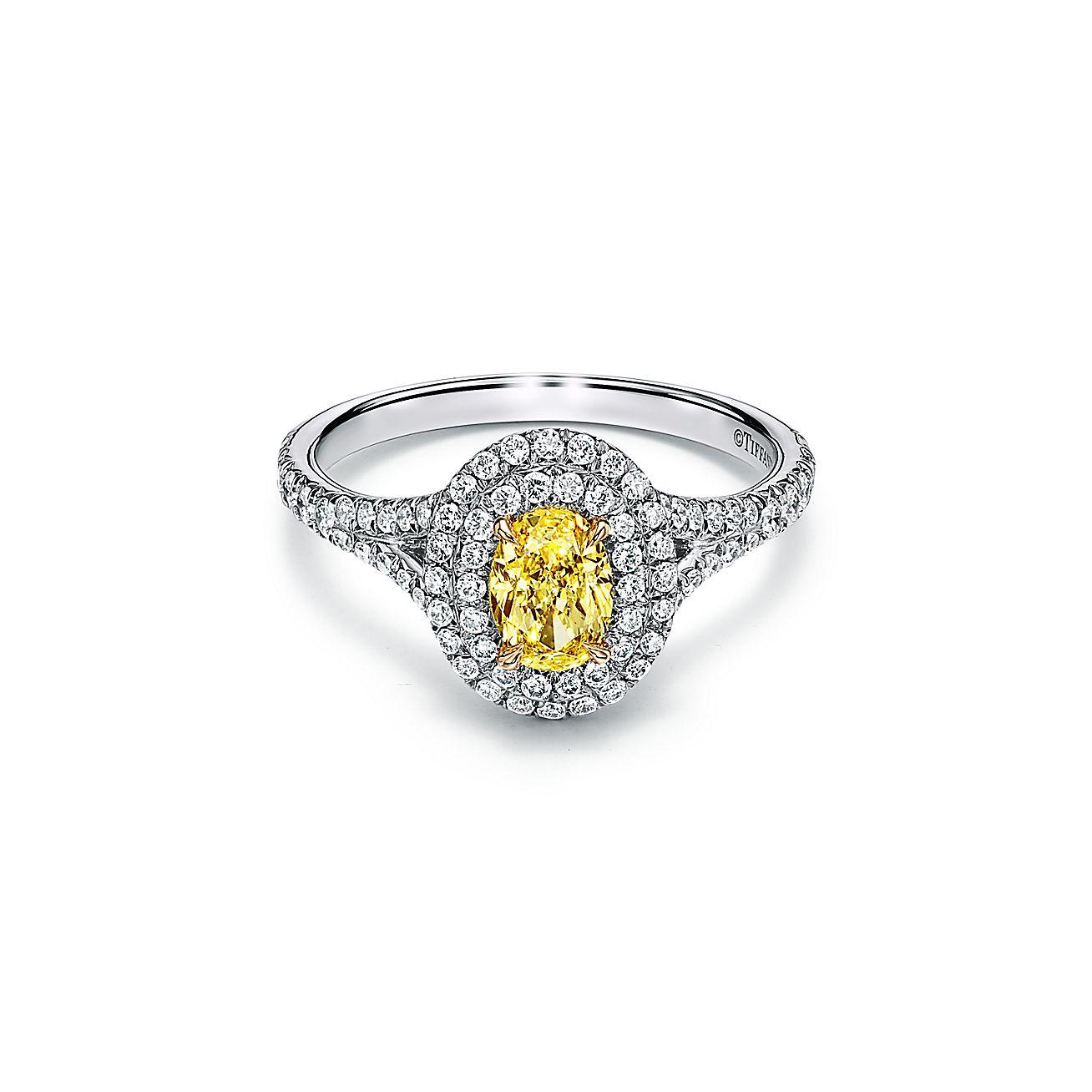 prix réduit qualité incroyable comment acheter Bague de fiançailles double halo Tiffany Soleste en platine 950 millièmes  ornée d'un diamant jaune taille ovale