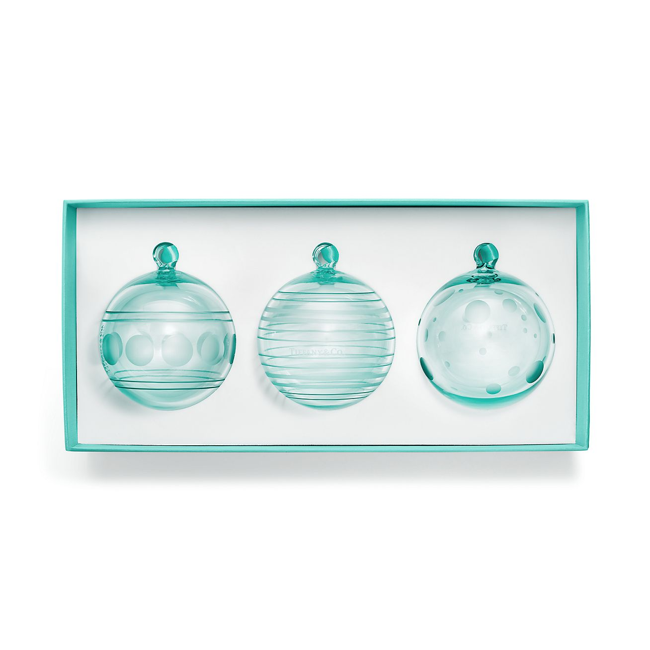 Ball Ornaments In Tiffany Blue Crystal Glass Set Of Three Tiffany Co