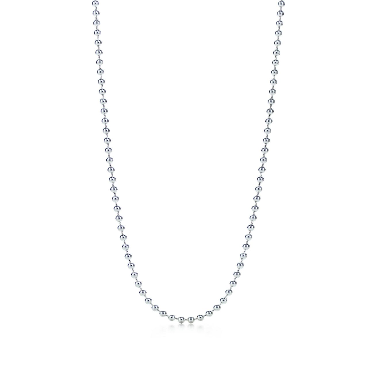 Beaded Chain Necklace In Sterling Silver 16 Long Tiffany Co