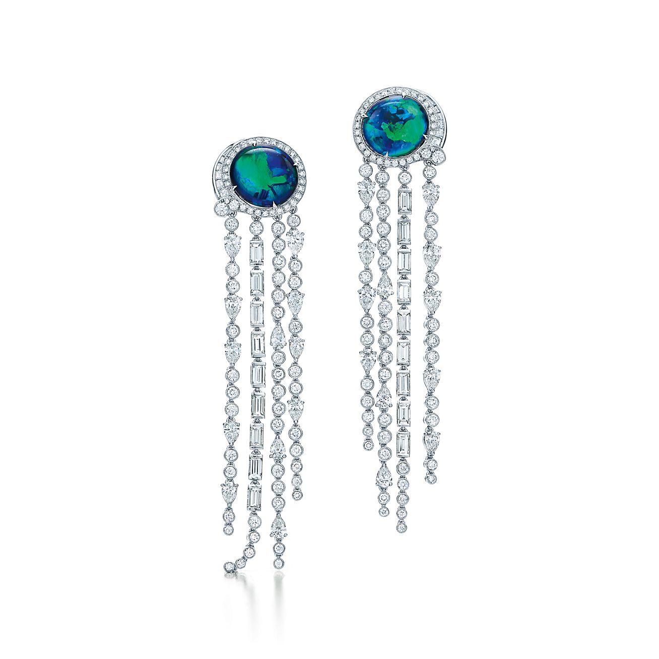 Black Opal And Diamond Earrings