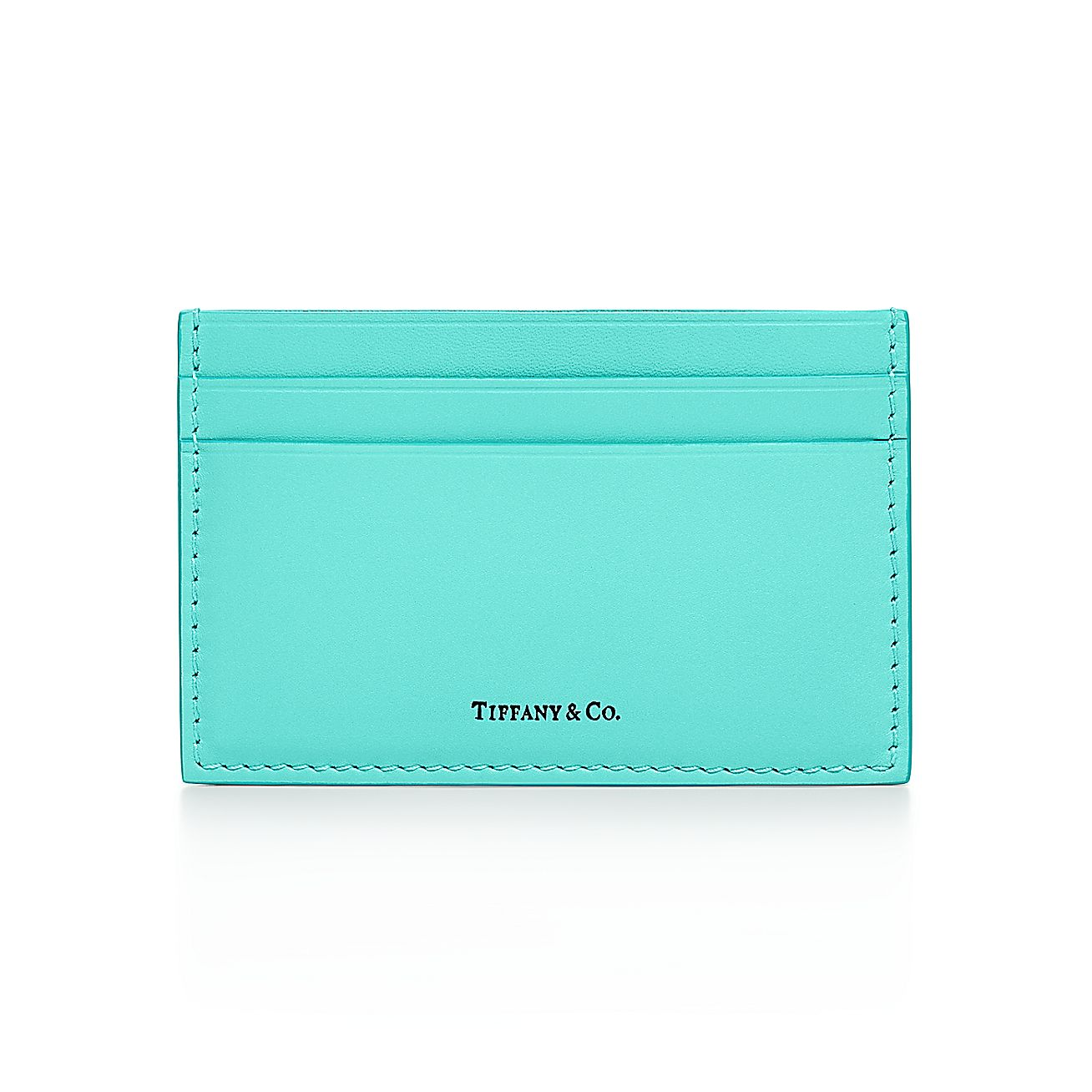 Card case in tiffany blue smooth calfskin leather tiffany co reheart Image collections