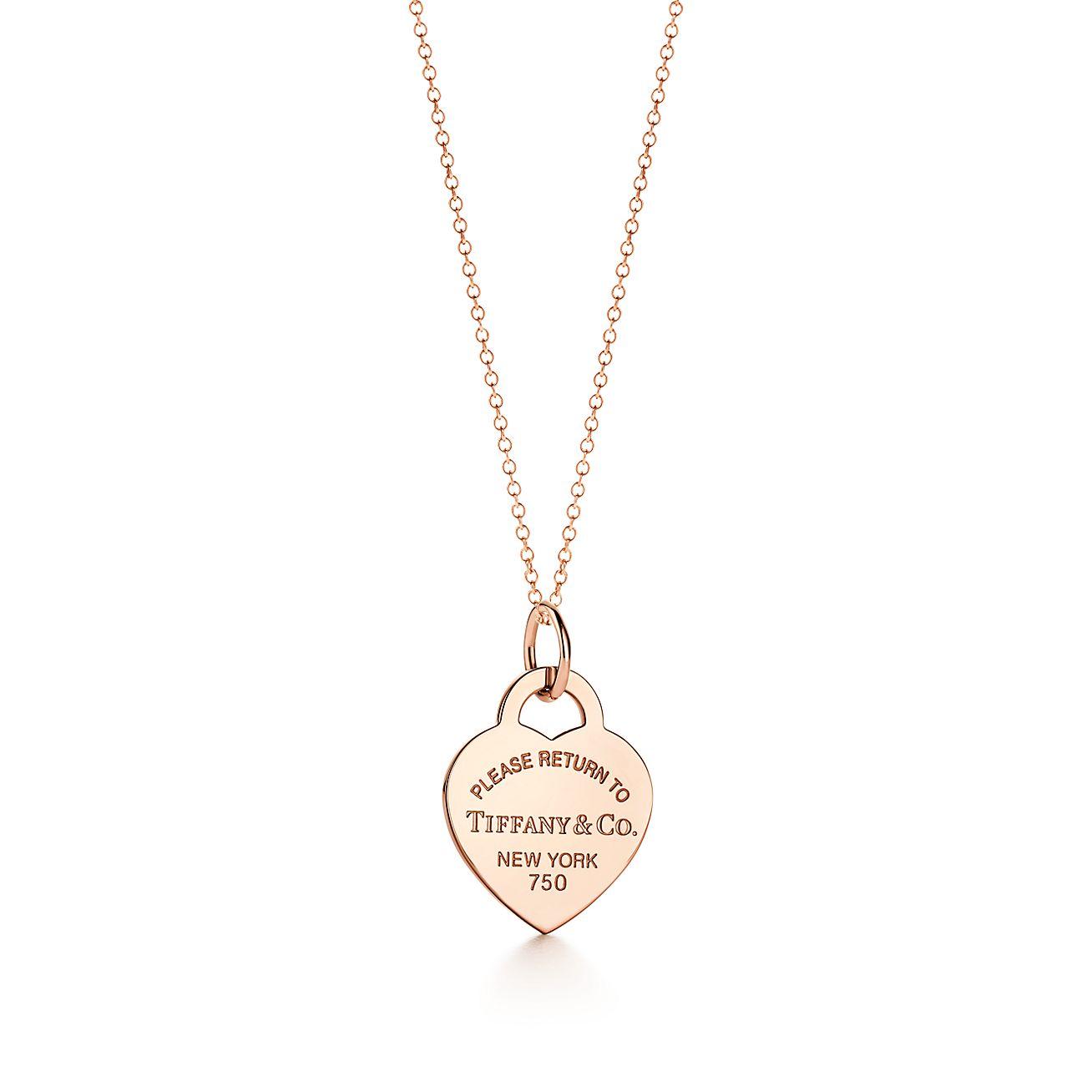Charm Plaque Cœur Return to Tiffany™ en or rose 18 carats. Medium ... 4a3fc371350b