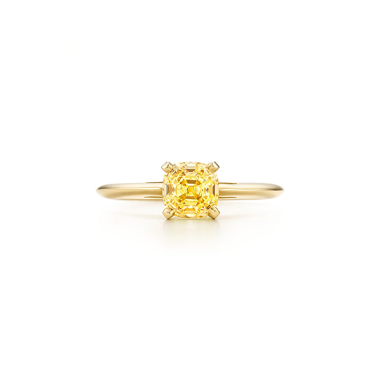 Ring In 18k Gold With A Square Antique Modified Brilliant Yellow