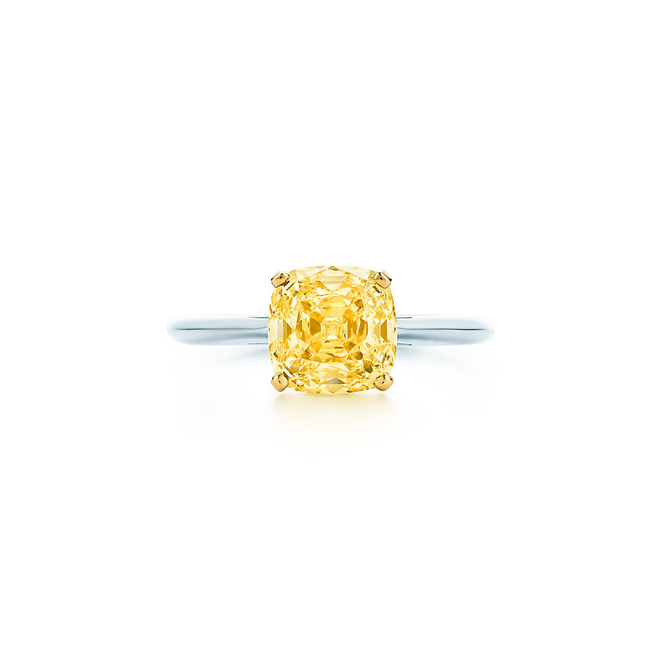 Ring In Platinum With A Square Antique Modified Brilliant Yellow