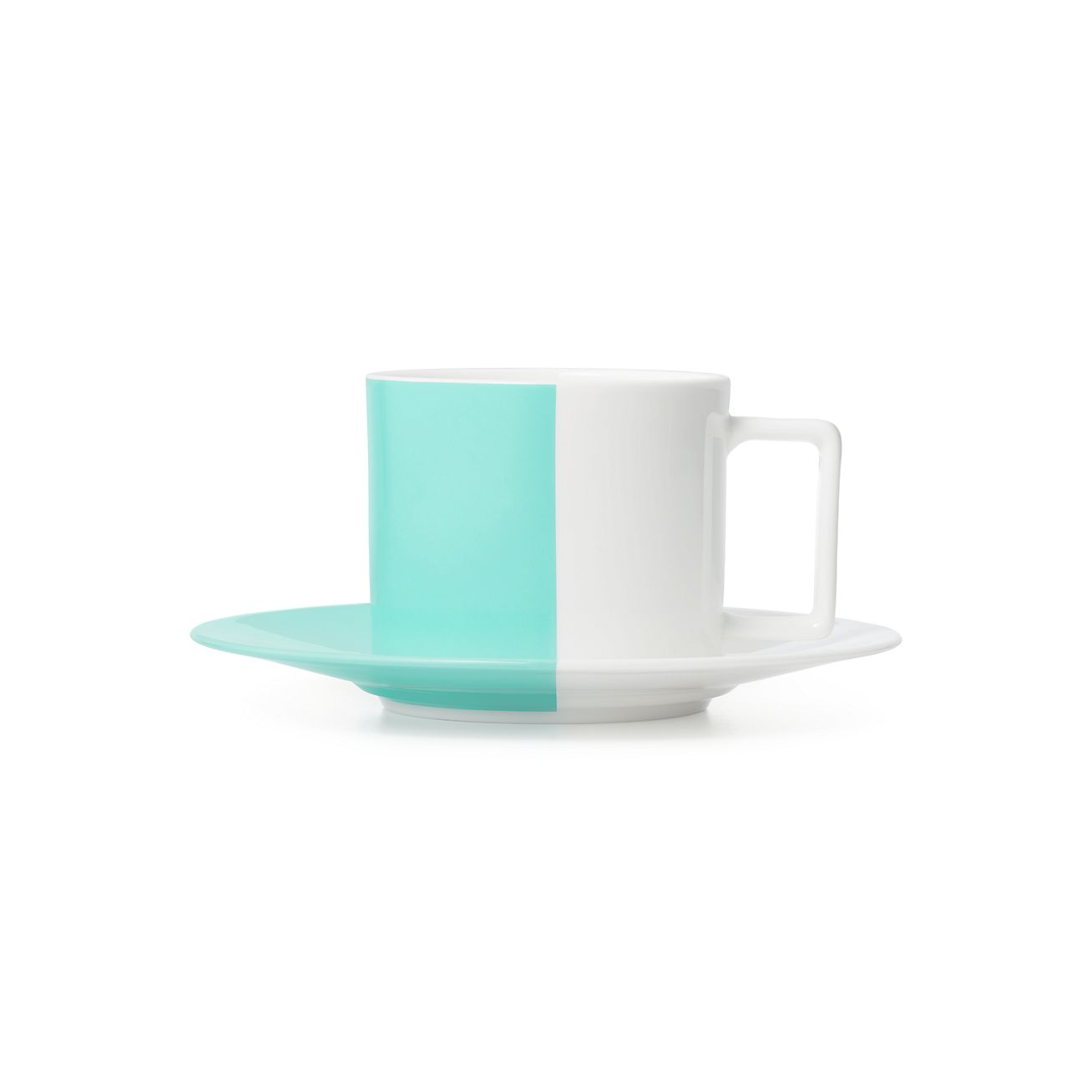 Color Block Teacup And Saucer In Bone China Tiffany Co