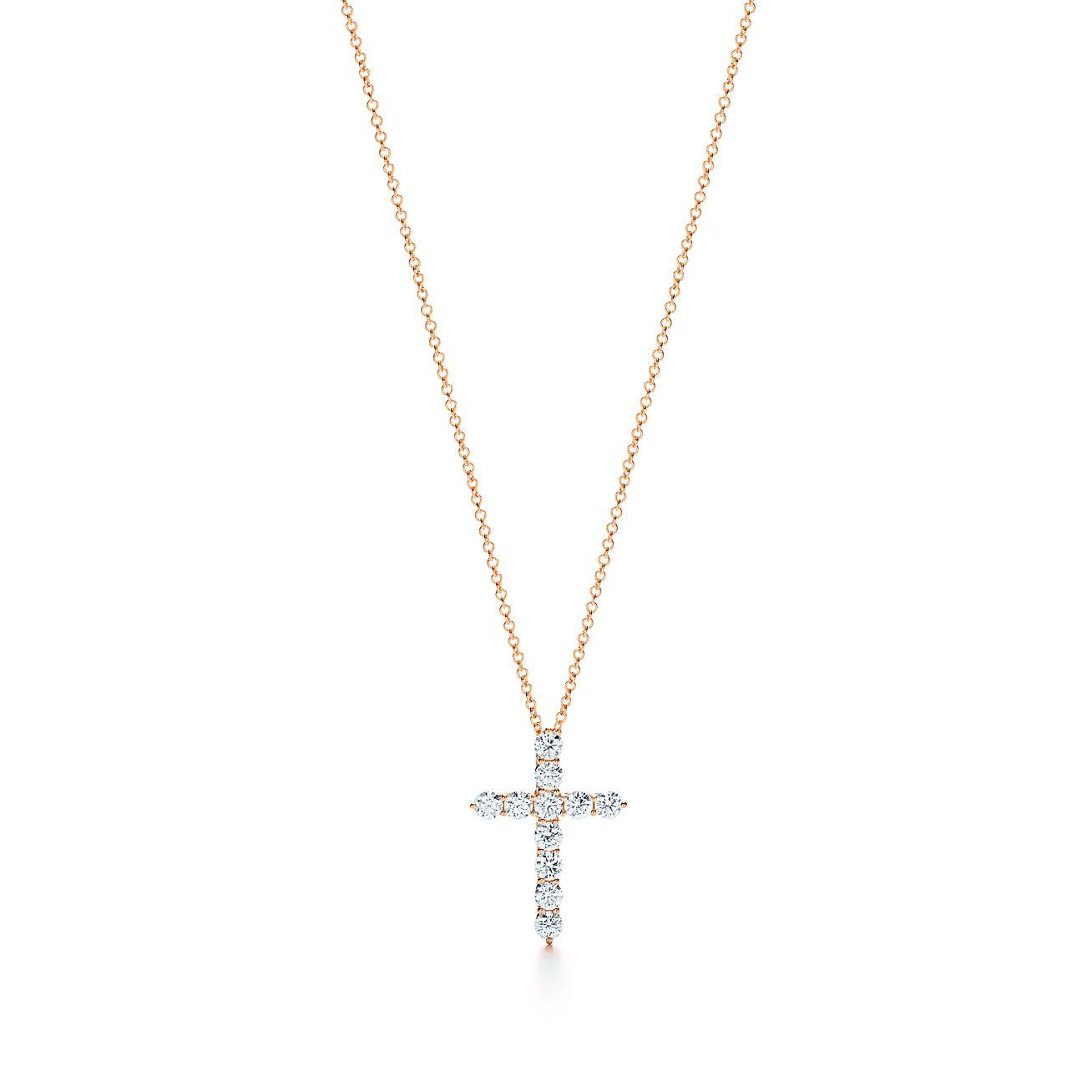 Cross Pendant In 18k Rose Gold With Diamonds Medium Tiffany Co