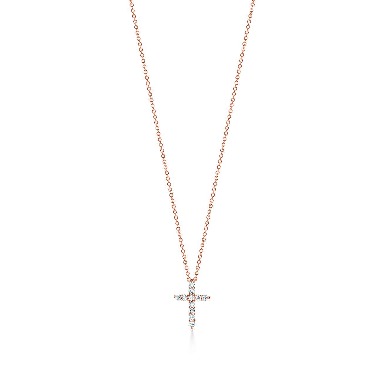 Cross Pendant In 18k Rose Gold With Diamonds Mini Tiffany Co