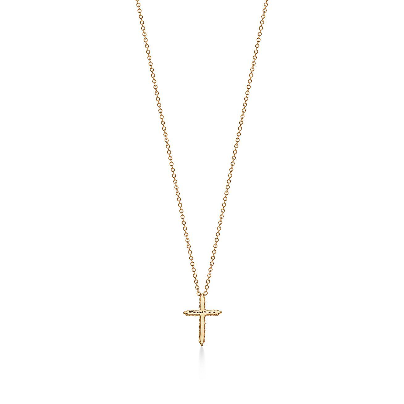 Cross Pendant In 18k Gold With Diamonds Mini Tiffany Co