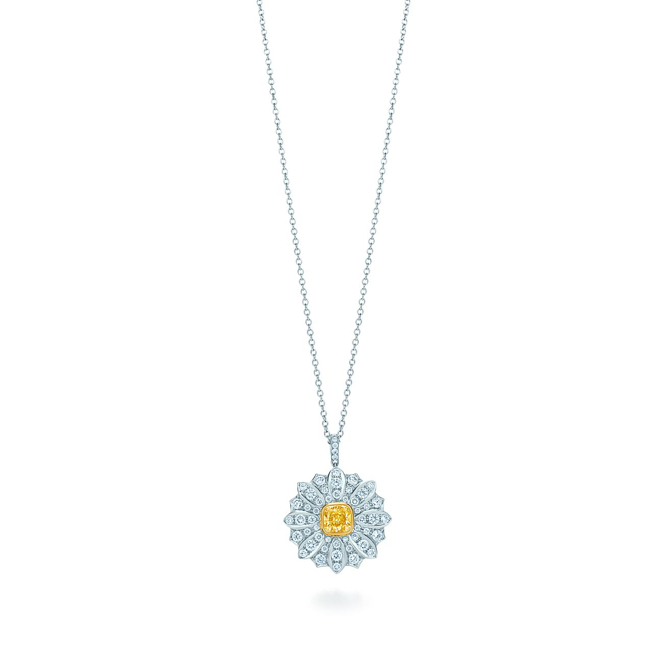 pearl and daisy diamond pendant necklace gold citrine white in
