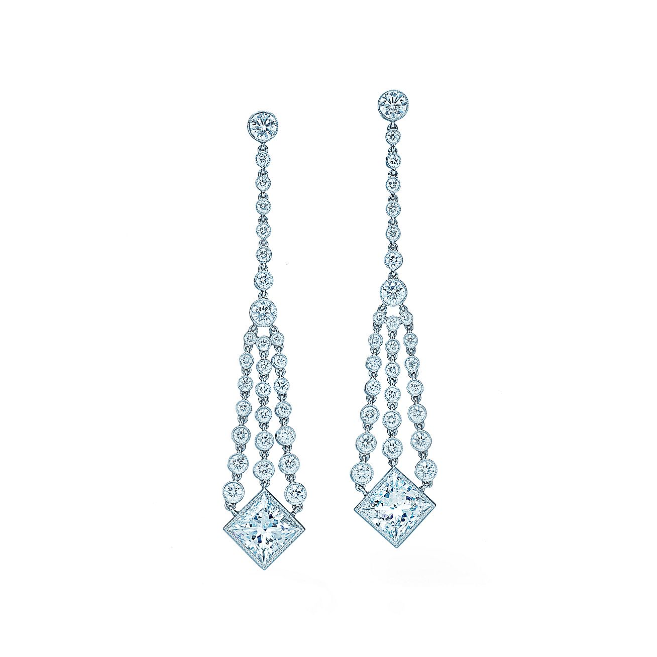 Diamond Chandelier Earrings Of Princess Cut And Round Diamonds In Platinum Tiffany Co