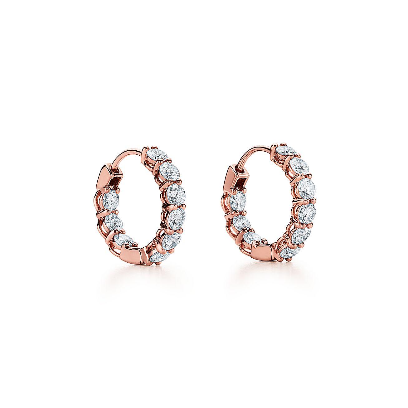 Diamond Hoop Earrings In 18k Rose Gold Small Tiffany Co