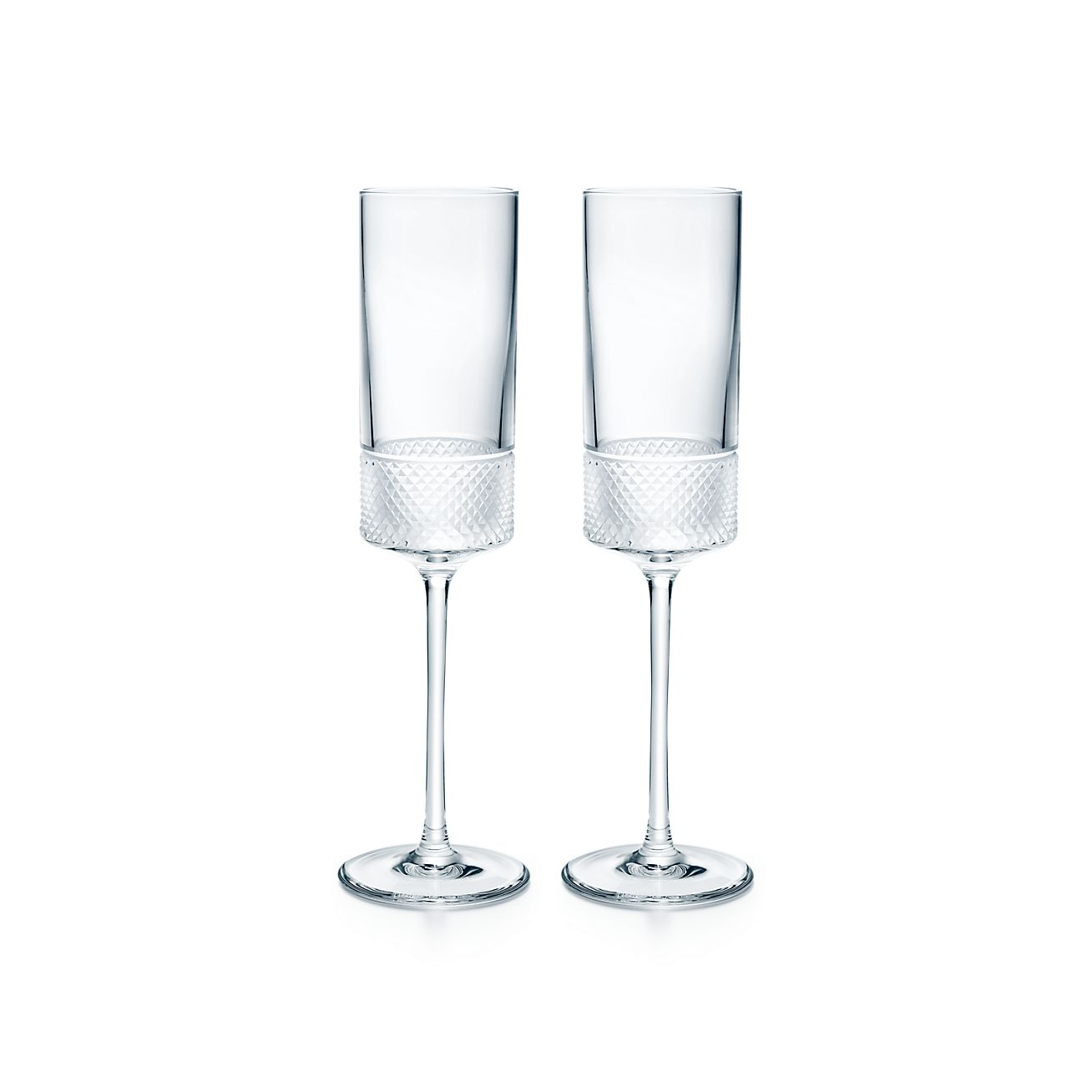 Diamond Point Champagne Flutes In Crystal Glass Set Of Two Tiffany Co