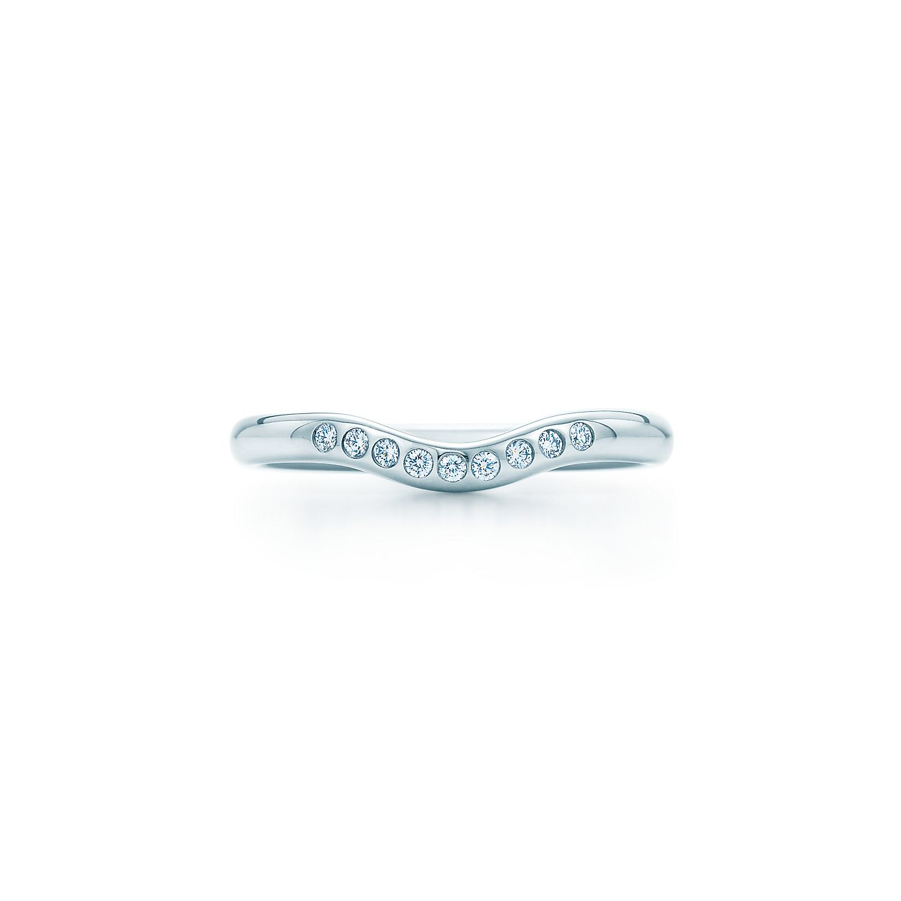 Elsa Peretti wedding band ring with diamonds in platinum Tiffany