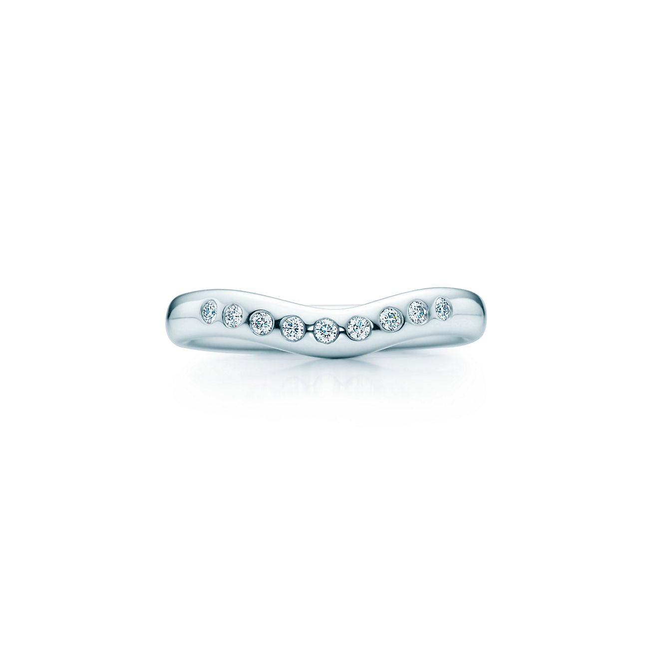 Elsa Peretti wedding band ring with diamonds in platinum wide