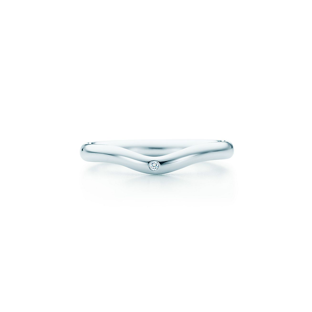 Elsa Peretti Wedding Band Ring With A Diamond In Platinum 2 Mm Wide Tiffany Co