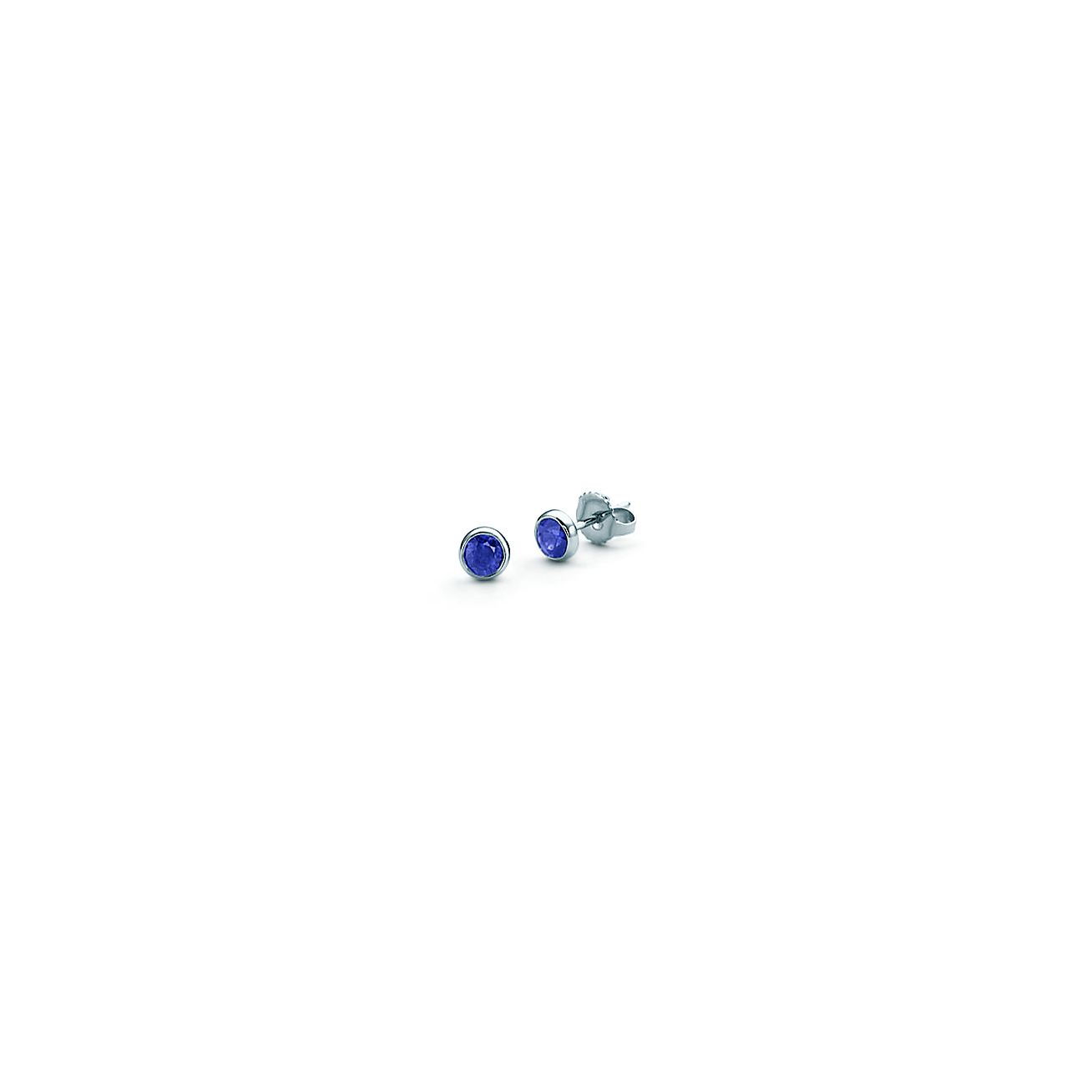 princess earrings jewelry cut bling cz ea blue silver sterling sapphire stud color