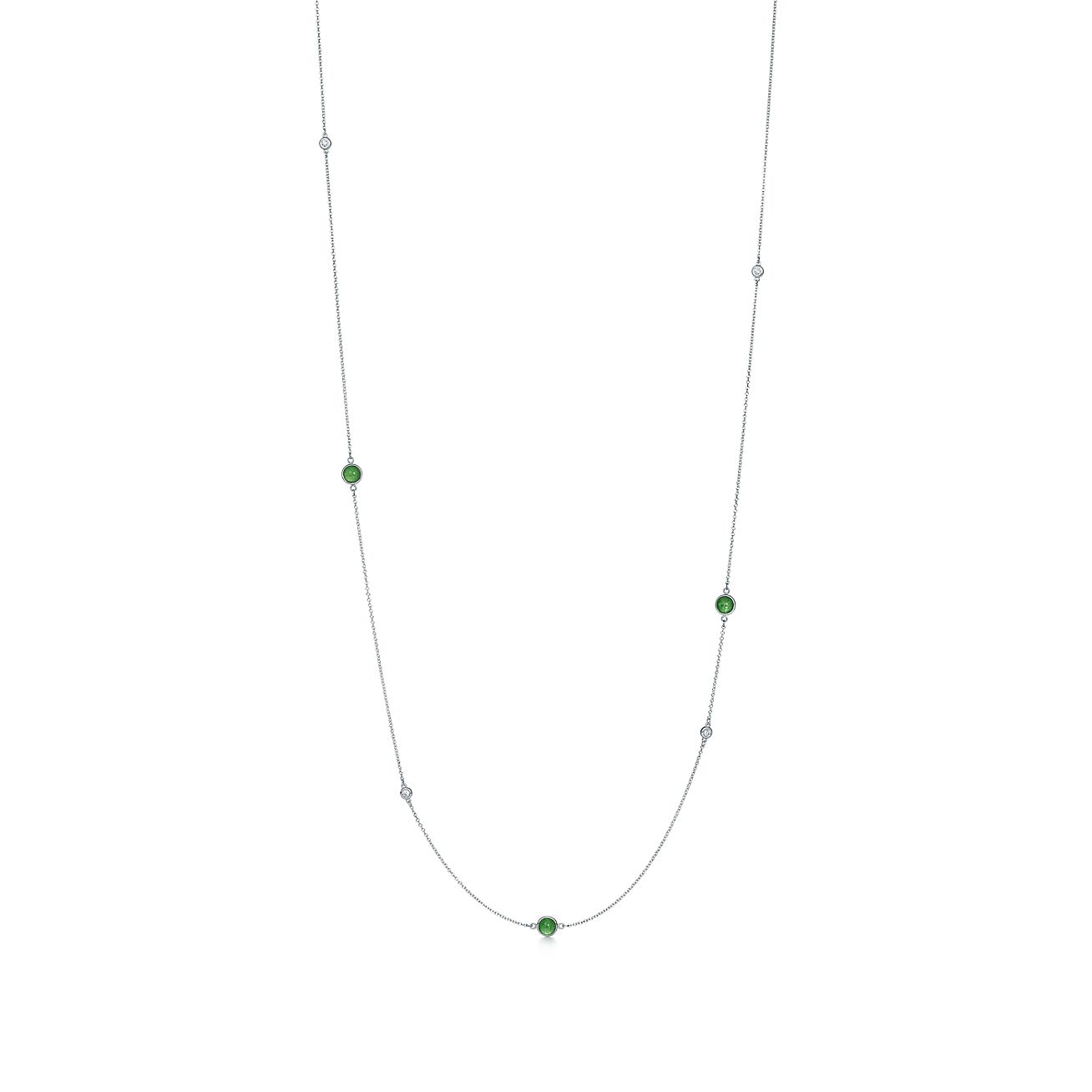 Elsa Peretti Color by the Yard necklace in silver with green aventurine and dia Tiffany & Co. jLBuIgBu