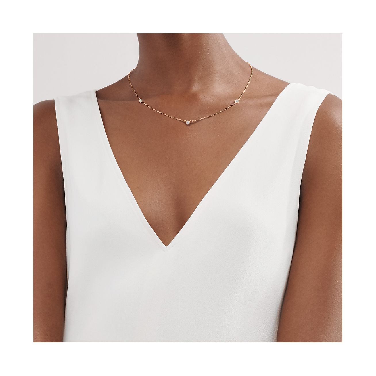 Elsa Peretti Diamonds By The Yard Necklace In 18k Rose Gold