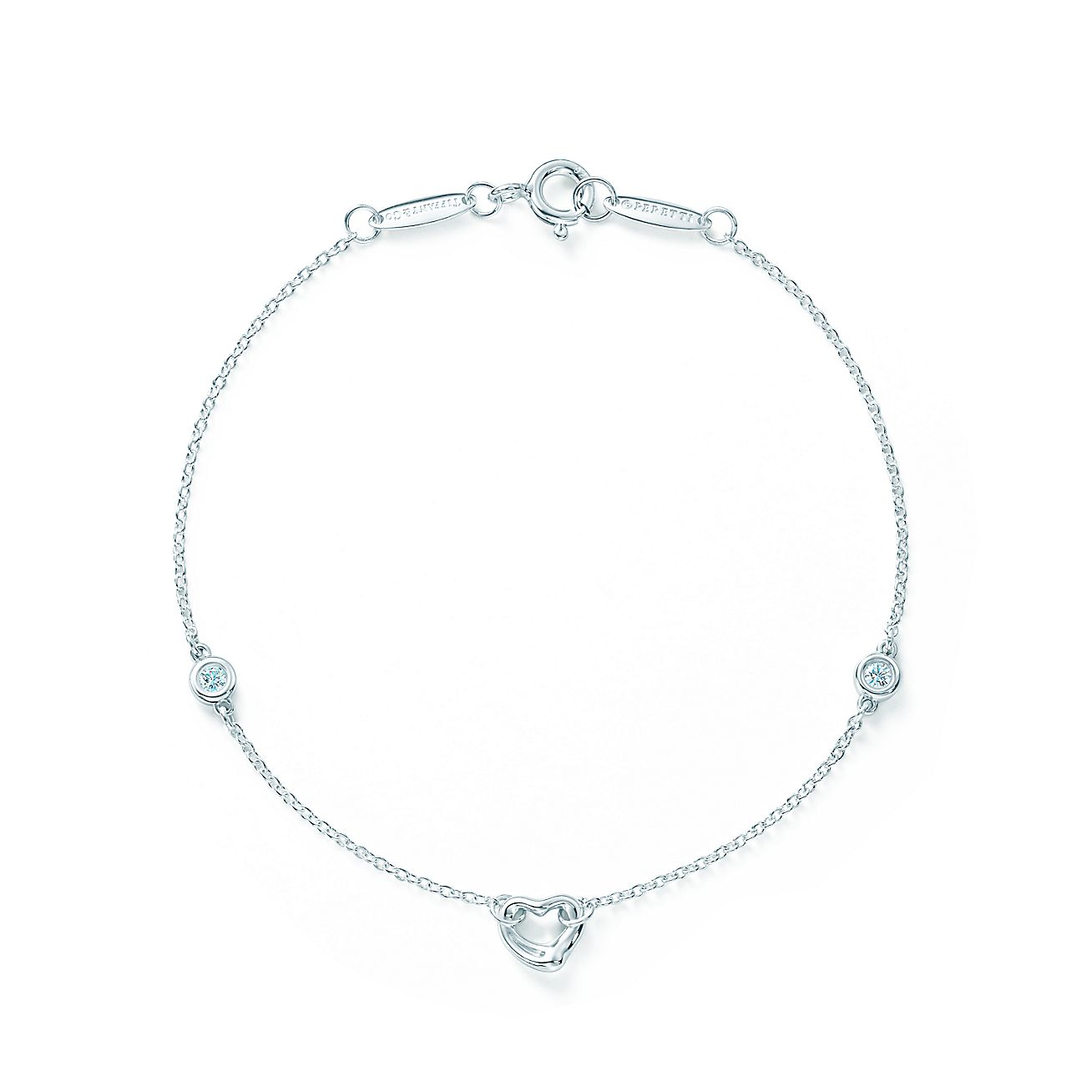 Elsa Peretti Diamonds By The Yard Open Heart Bracelet In Sterling Silver Tiffany Co