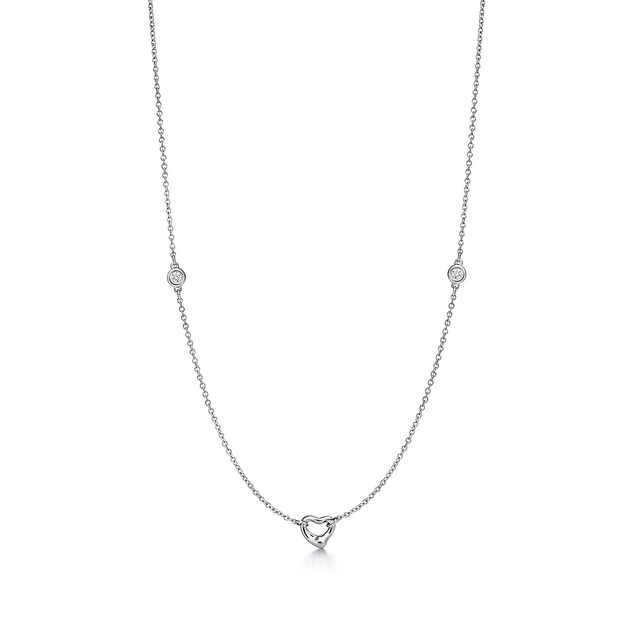 Elsa peretti diamonds by the yard open heart necklace in sterling elsa peretti diamonds by the yard open heart necklace in sterling silver tiffany co mozeypictures Image collections