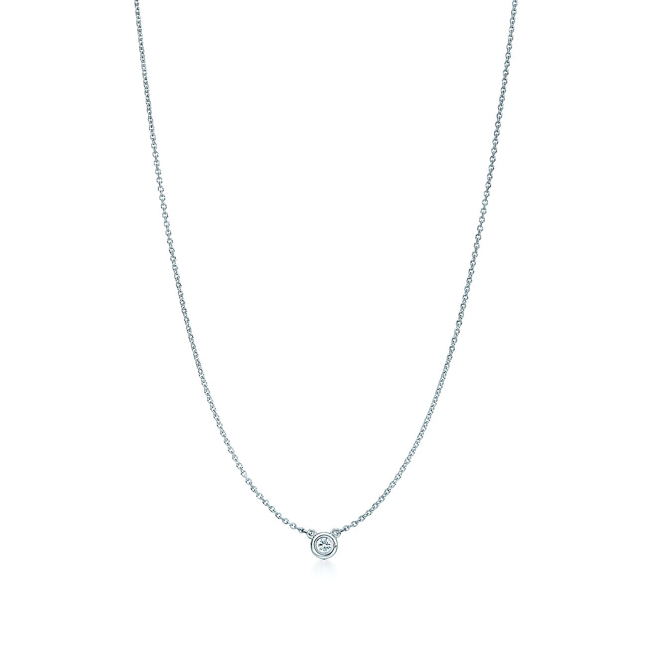 necklace in white solitaire chain diamond carat floating pendant gold a round